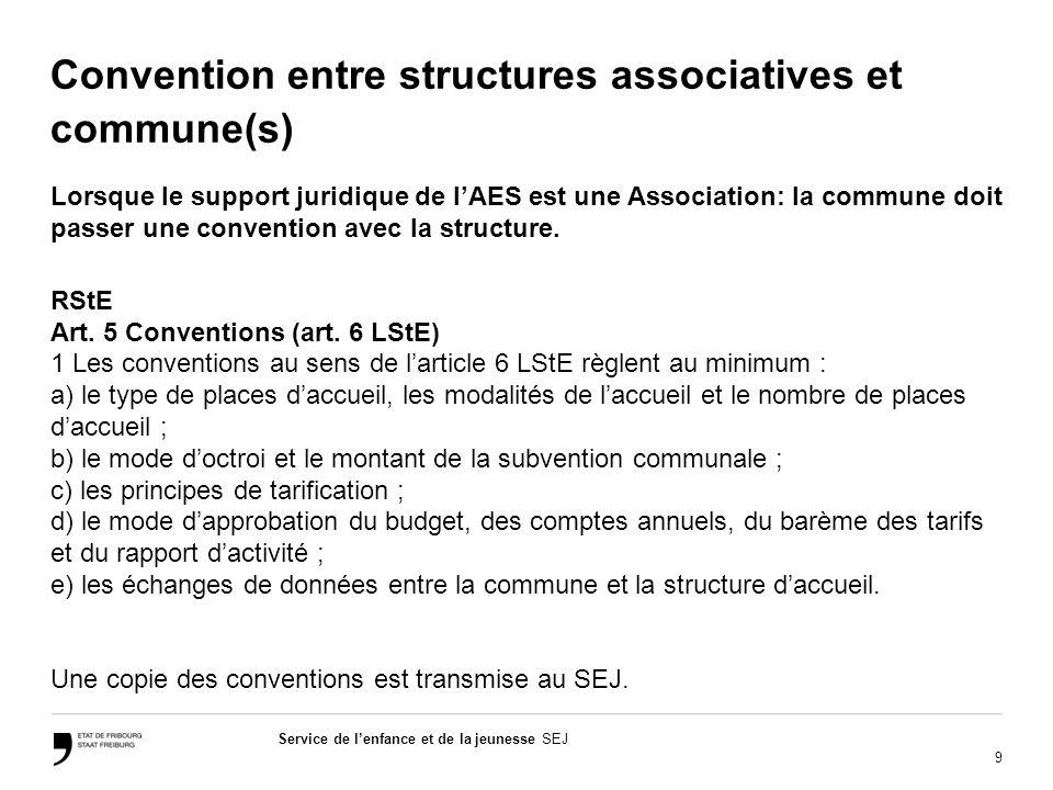 9 Service de lenfance et de la jeunesse SEJ Convention entre structures associatives et commune(s) Lorsque le support juridique de lAES est une Association: la commune doit passer une convention avec la structure.