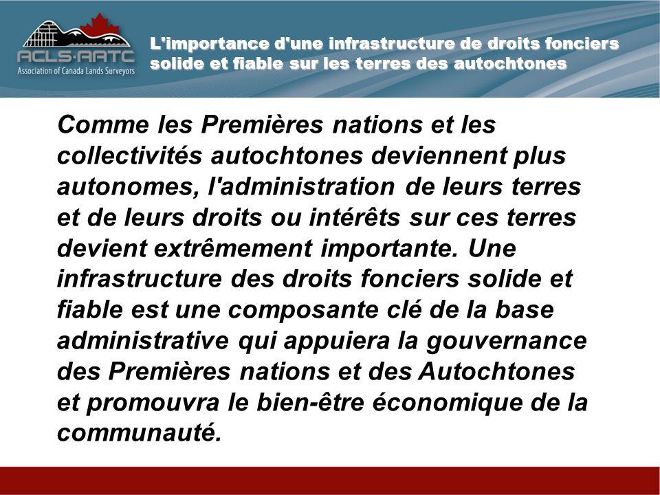 L importance d une infrastructure de droits fonciers solide et fiable sur les terres des autochtones Qu est-ce qu une parcelle .