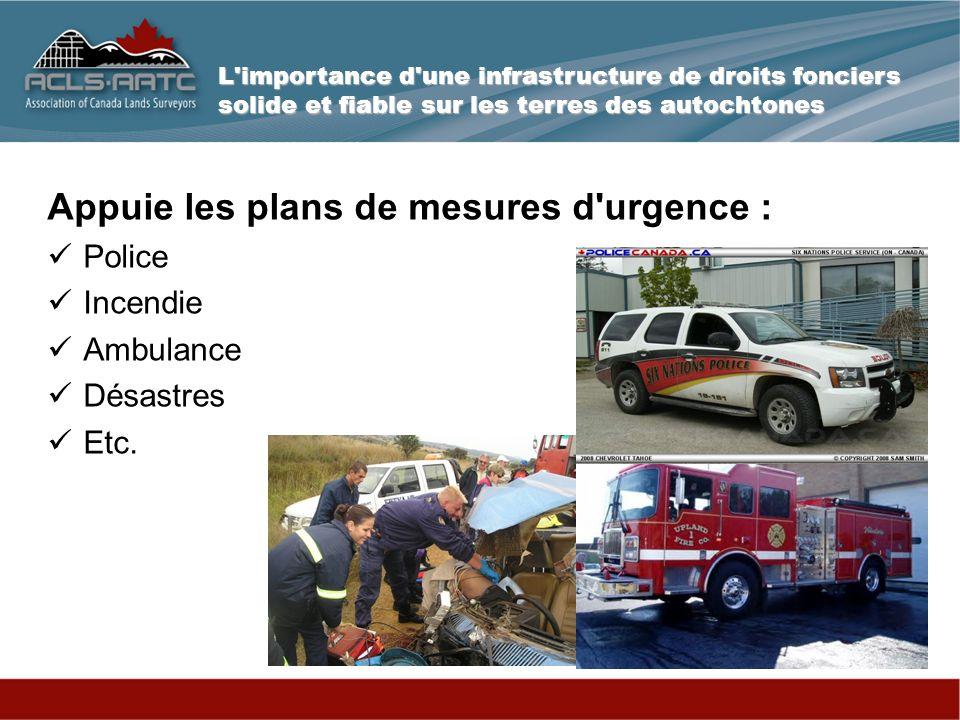 L importance d une infrastructure de droits fonciers solide et fiable sur les terres des autochtones Appuie les plans de mesures d urgence : Police Incendie Ambulance Désastres Etc.