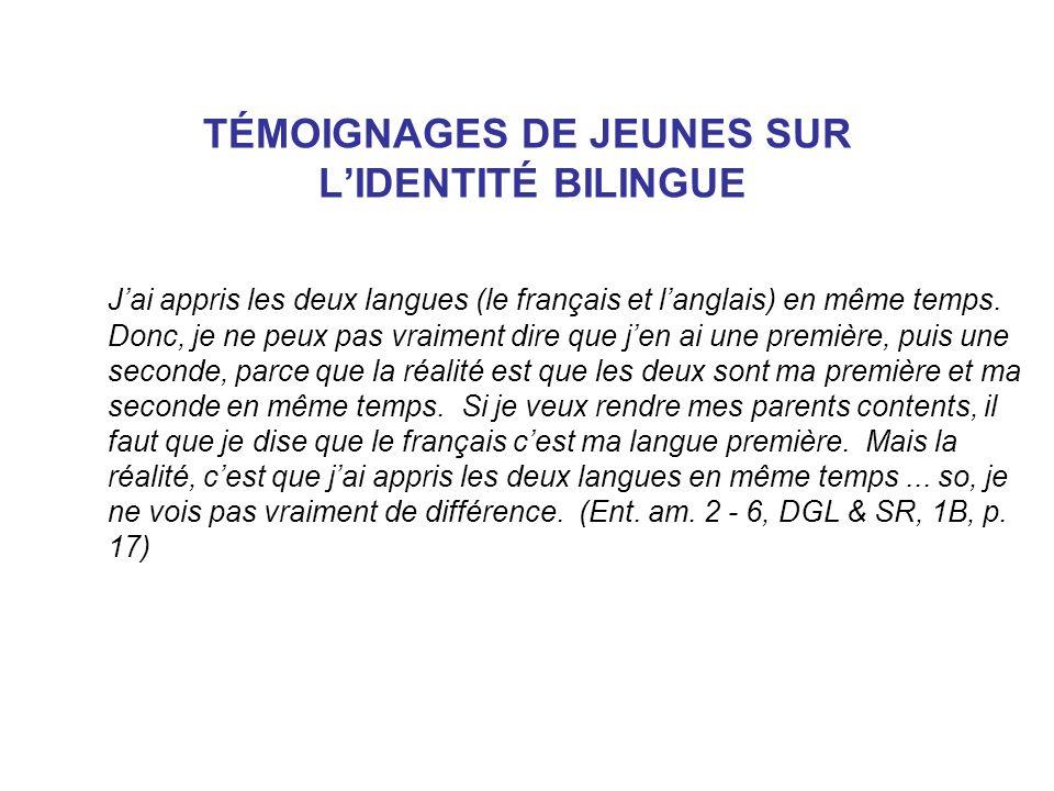 TÉMOIGNAGES DE JEUNES SUR LIDENTITÉ BILINGUE Jai appris les deux langues (le français et langlais) en même temps. Donc, je ne peux pas vraiment dire q