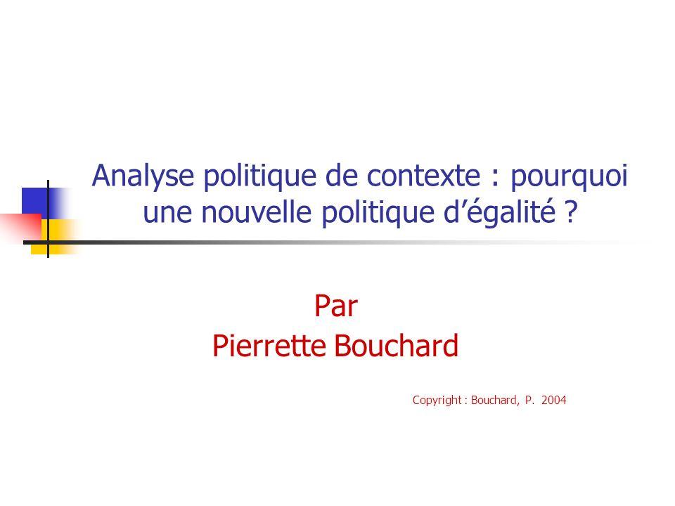 Analyse politique de contexte : pourquoi une nouvelle politique dégalité ? Par Pierrette Bouchard Copyright : Bouchard, P. 2004