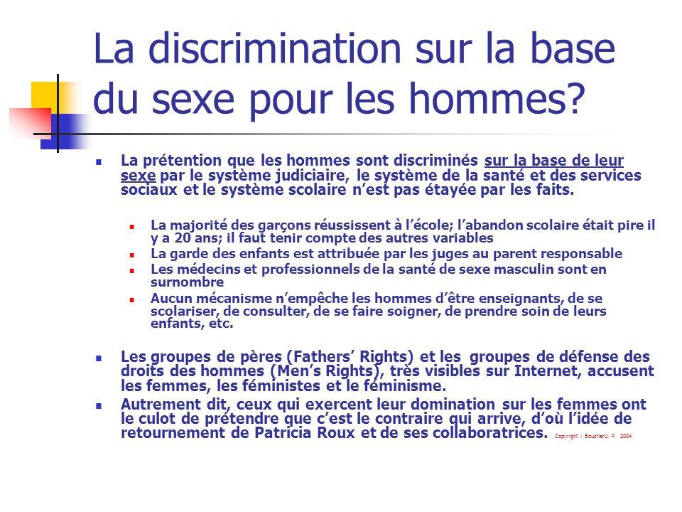 La discrimination sur la base du sexe pour les hommes.
