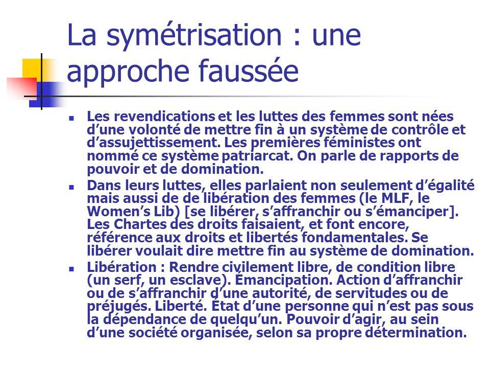 La symétrisation : une approche faussée Les revendications et les luttes des femmes sont nées dune volonté de mettre fin à un système de contrôle et d