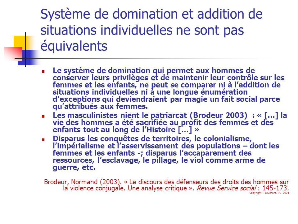 Système de domination et addition de situations individuelles ne sont pas équivalents Le système de domination qui permet aux hommes de conserver leur