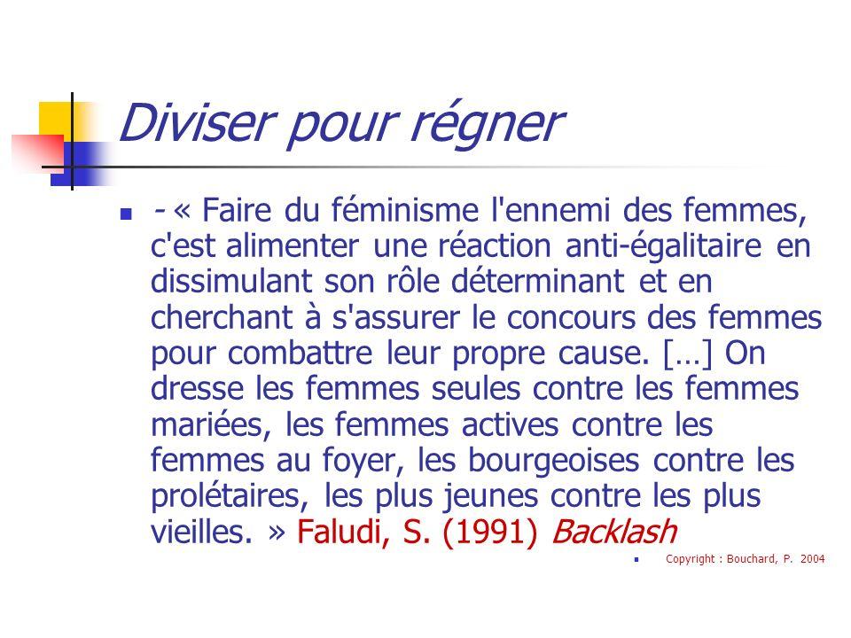 Diviser pour régner - « Faire du féminisme l ennemi des femmes, c est alimenter une réaction anti-égalitaire en dissimulant son rôle déterminant et en cherchant à s assurer le concours des femmes pour combattre leur propre cause.