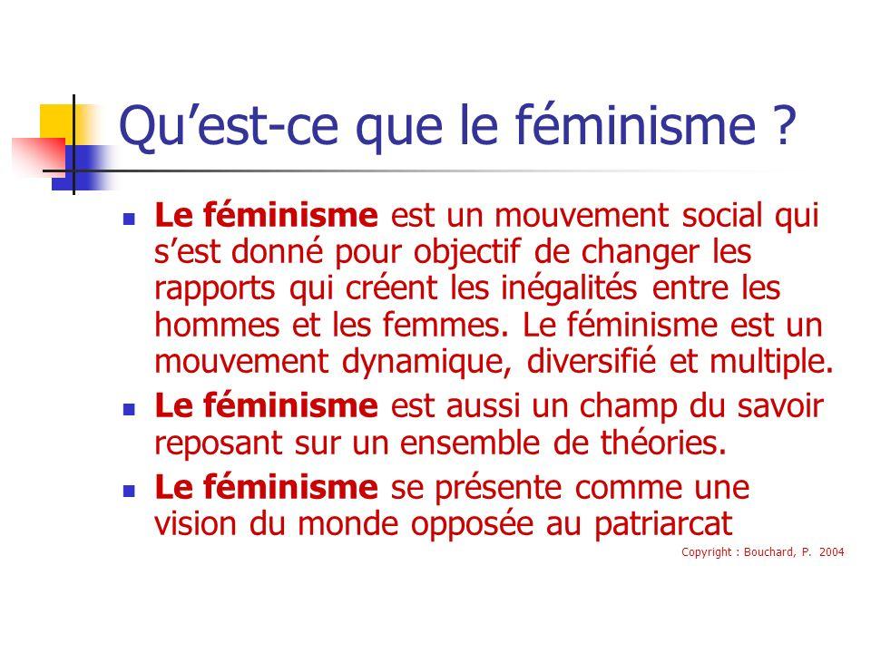 Quest-ce que le féminisme ? Le féminisme est un mouvement social qui sest donné pour objectif de changer les rapports qui créent les inégalités entre