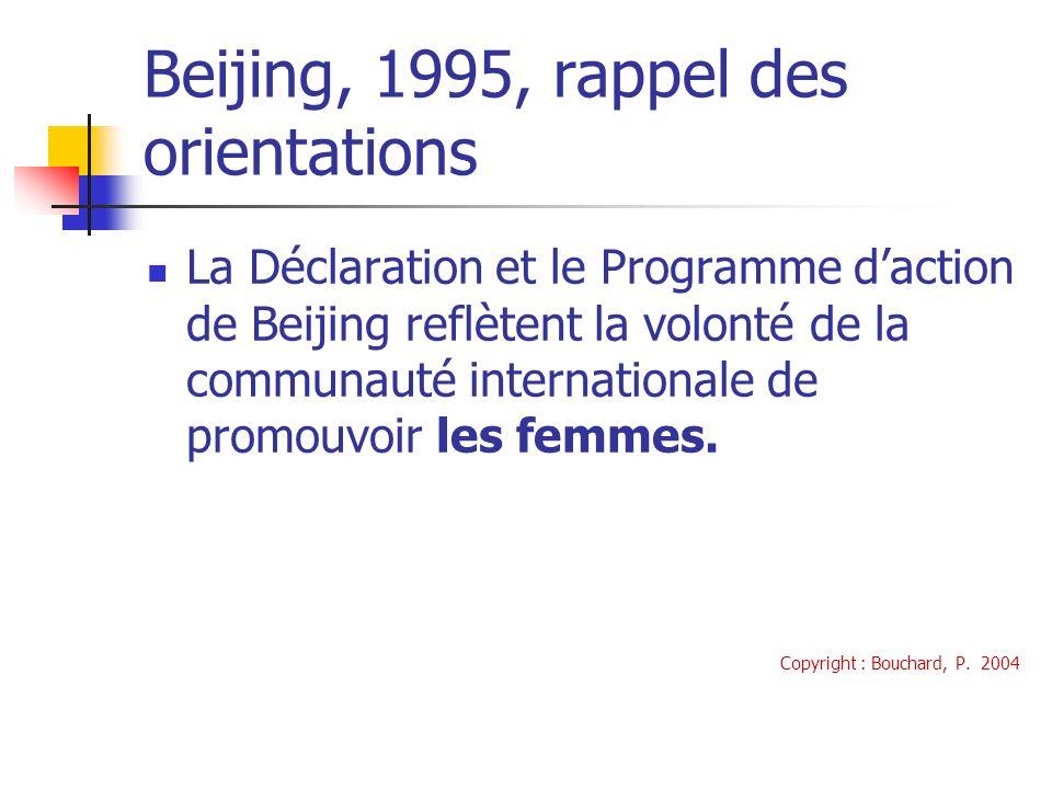 Beijing, 1995, rappel des orientations La Déclaration et le Programme daction de Beijing reflètent la volonté de la communauté internationale de promouvoir les femmes.