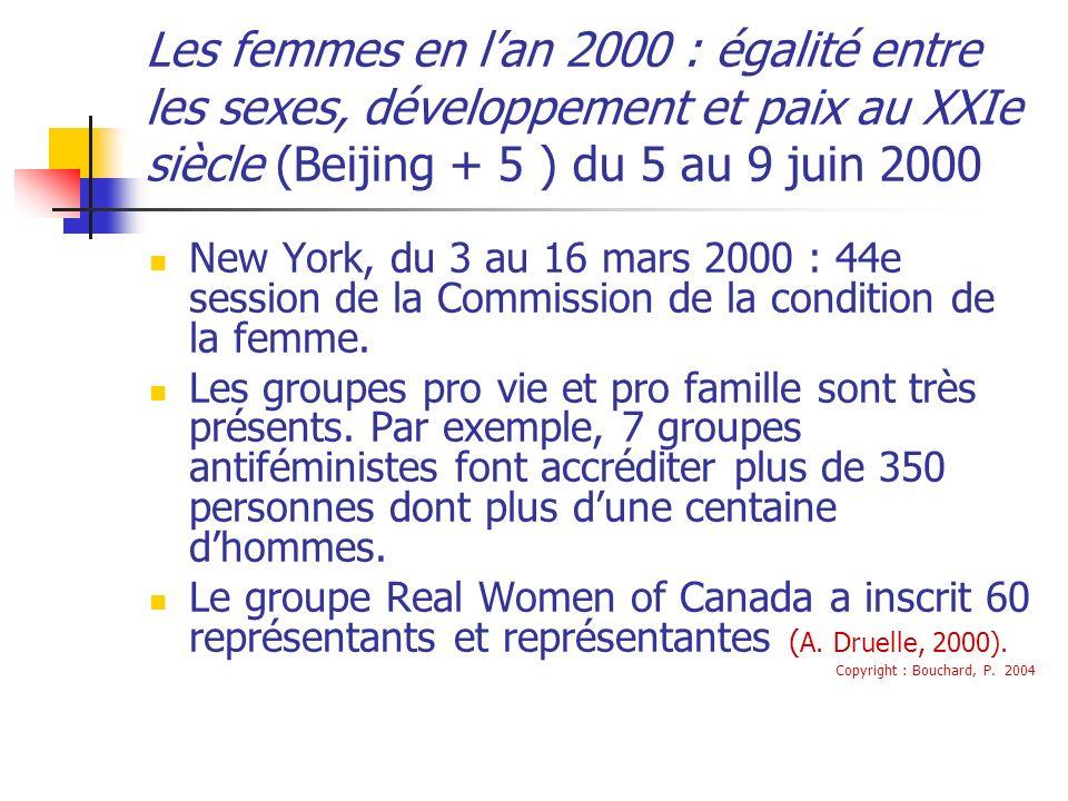 Les femmes en lan 2000 : égalité entre les sexes, développement et paix au XXIe siècle (Beijing + 5 ) du 5 au 9 juin 2000 New York, du 3 au 16 mars 2000 : 44e session de la Commission de la condition de la femme.