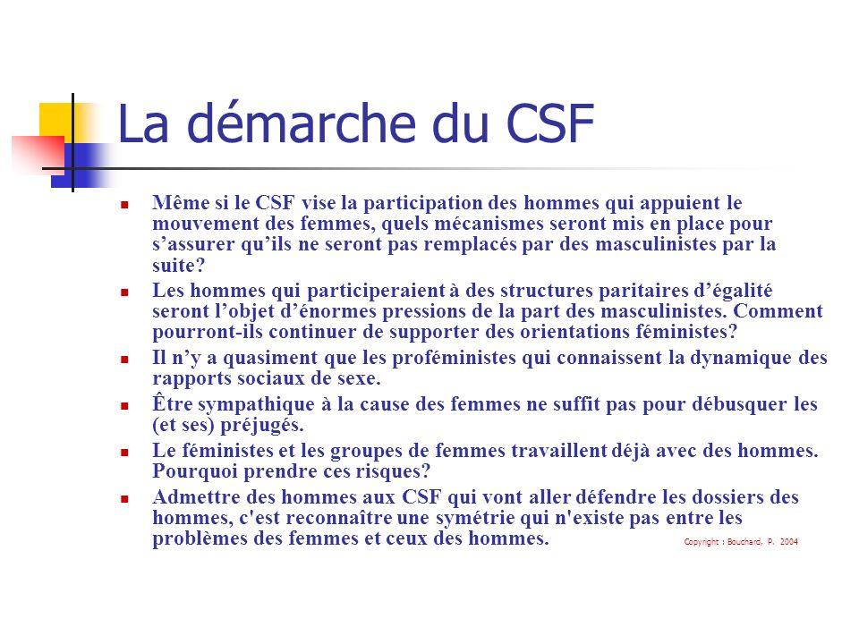 La démarche du CSF Même si le CSF vise la participation des hommes qui appuient le mouvement des femmes, quels mécanismes seront mis en place pour sassurer quils ne seront pas remplacés par des masculinistes par la suite.