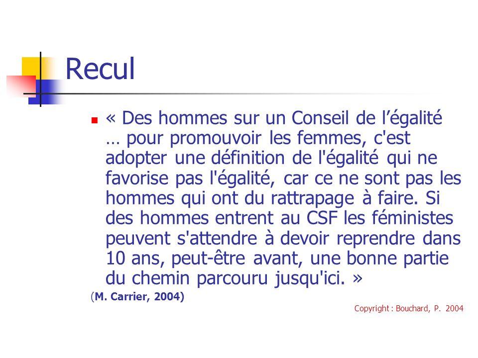 Recul « Des hommes sur un Conseil de légalité … pour promouvoir les femmes, c est adopter une définition de l égalité qui ne favorise pas l égalité, car ce ne sont pas les hommes qui ont du rattrapage à faire.