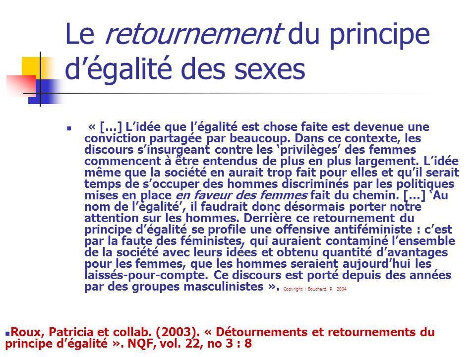 Le retournement du principe dégalité des sexes « […] Lidée que légalité est chose faite est devenue une conviction partagée par beaucoup. Dans ce cont
