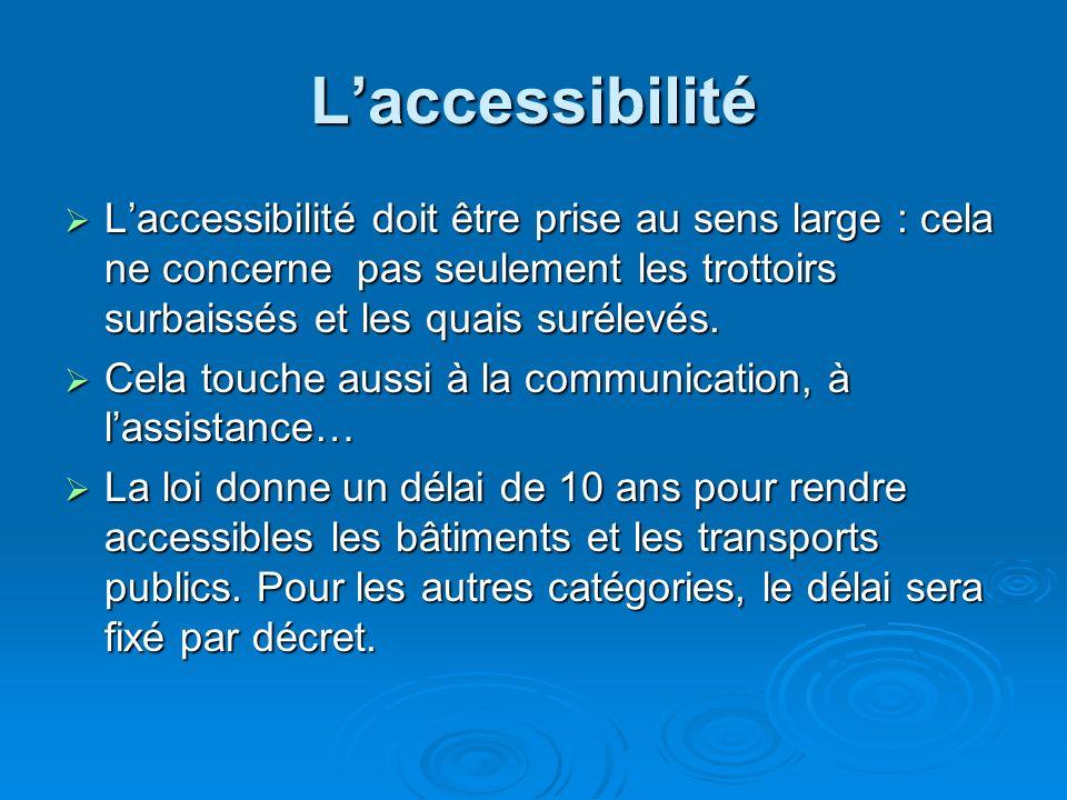 Fondée sur des principes généraux de non- discrimination, la loi du 11 février 2005 s'organise autour de trois principes clés : garantir aux personnes