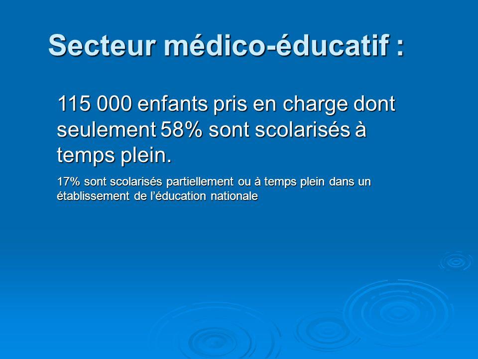 Education Nationale 1er degré :1er degré : CLIS : 37 500 Classes ordinaires : 58 000 2d degré : 2d degré : 31 500 élèves handicapés intégrés individue