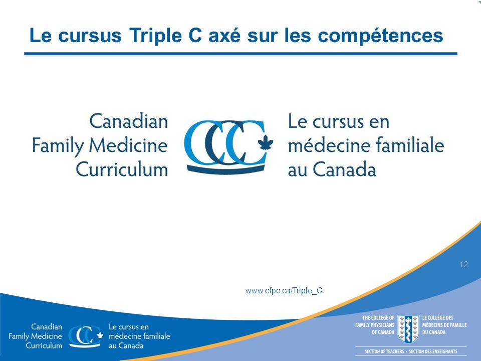 Le cursus Triple C axé sur les compétences 12 www.cfpc.ca/Triple_C