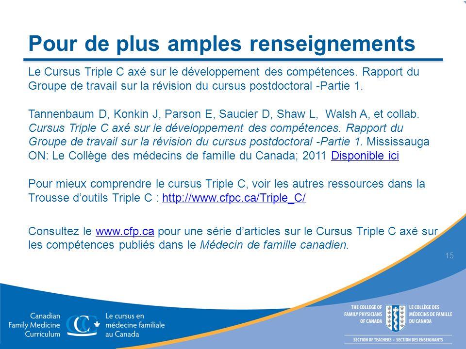 Pour de plus amples renseignements Le Cursus Triple C axé sur le développement des compétences.