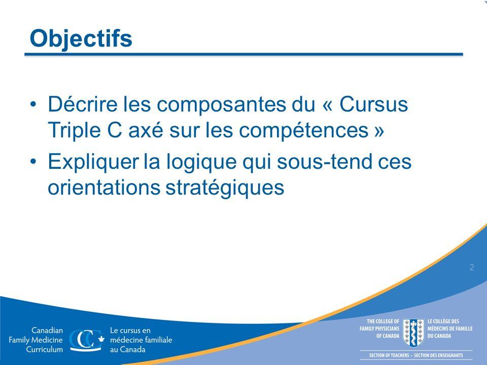 Objectifs Décrire les composantes du « Cursus Triple C axé sur les compétences » Expliquer la logique qui sous-tend ces orientations stratégiques 2
