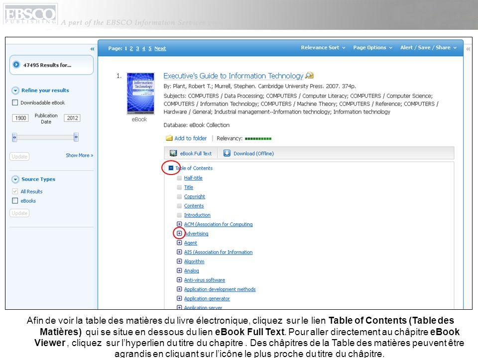 Afin de voir la table des matières du livre électronique, cliquez sur le lien Table of Contents (Table des Matières) qui se situe en dessous du lien eBook Full Text.