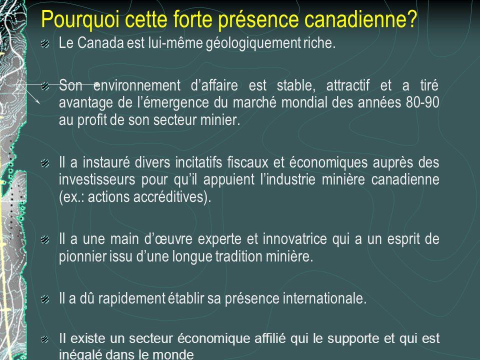 Pourquoi cette forte présence canadienne. Le Canada est lui-même géologiquement riche.