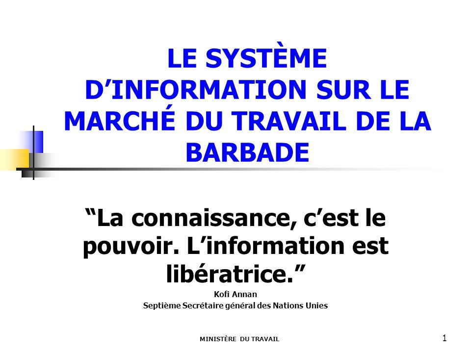 MINISTÈRE DU TRAVAIL 1 LE SYSTÈME DINFORMATION SUR LE MARCHÉ DU TRAVAIL DE LA BARBADE La connaissance, cest le pouvoir. Linformation est libératrice.
