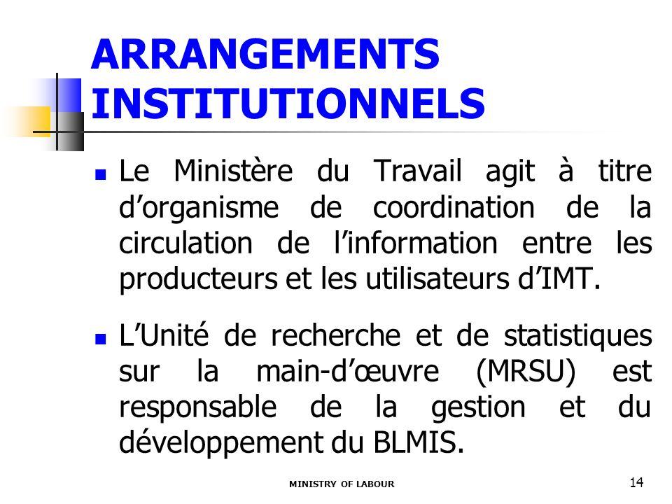 ARRANGEMENTS INSTITUTIONNELS Le Ministère du Travail agit à titre dorganisme de coordination de la circulation de linformation entre les producteurs et les utilisateurs dIMT.