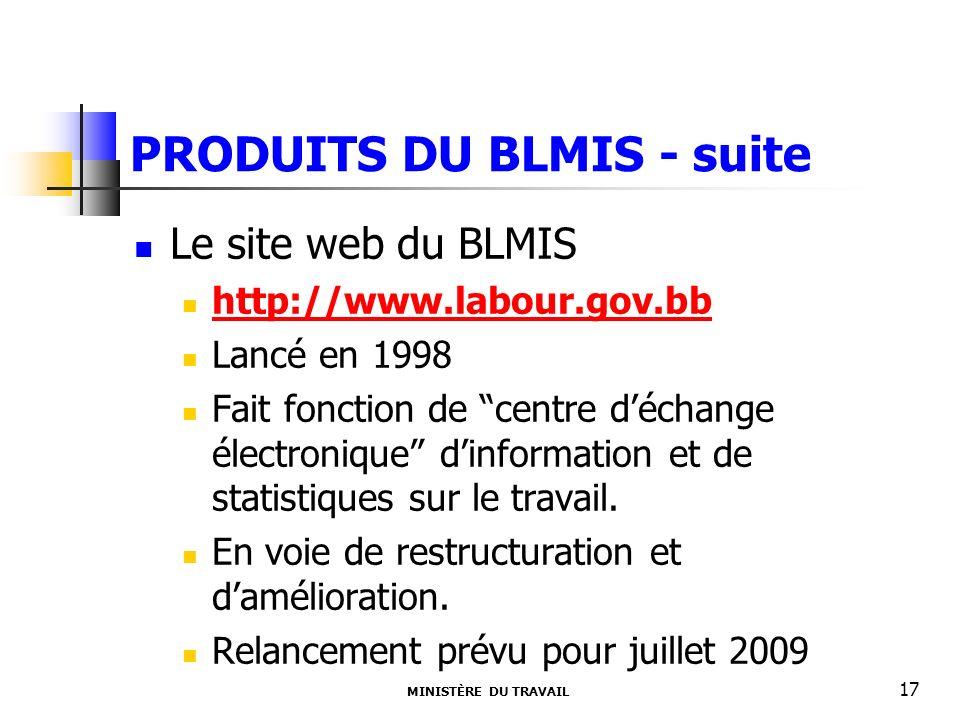 PRODUITS DU BLMIS - suite Le site web du BLMIS http://www.labour.gov.bb Lancé en 1998 Fait fonction de centre déchange électronique dinformation et de statistiques sur le travail.