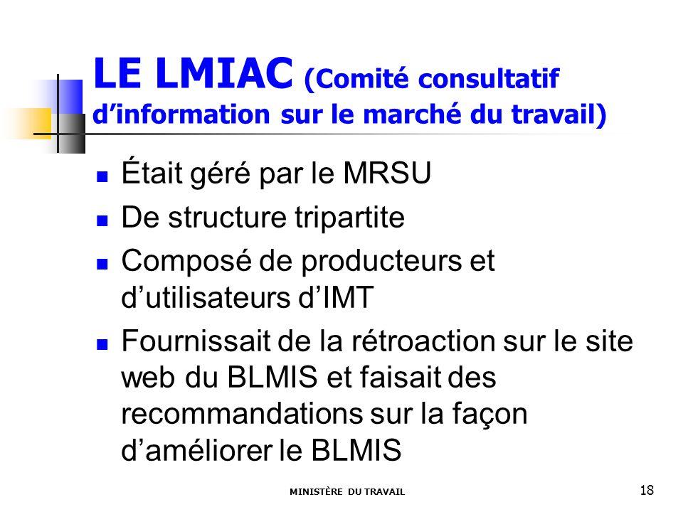 LE LMIAC (Comité consultatif dinformation sur le marché du travail) Était géré par le MRSU De structure tripartite Composé de producteurs et dutilisateurs dIMT Fournissait de la rétroaction sur le site web du BLMIS et faisait des recommandations sur la façon daméliorer le BLMIS MINISTÈRE DU TRAVAIL 18