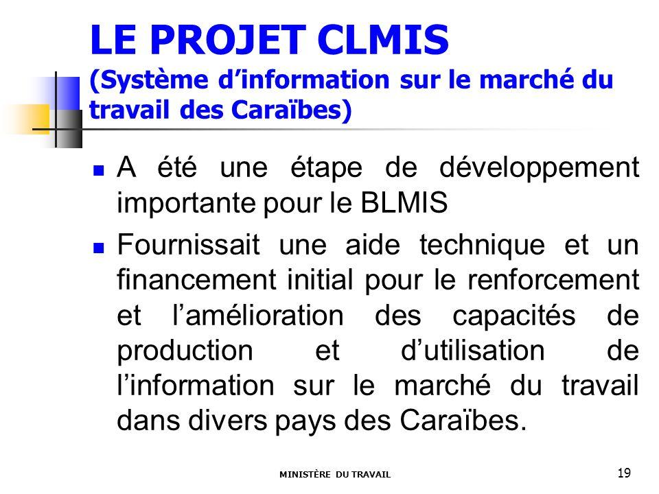 LE PROJET CLMIS (Système dinformation sur le marché du travail des Caraïbes) A été une étape de développement importante pour le BLMIS Fournissait une aide technique et un financement initial pour le renforcement et lamélioration des capacités de production et dutilisation de linformation sur le marché du travail dans divers pays des Caraïbes.