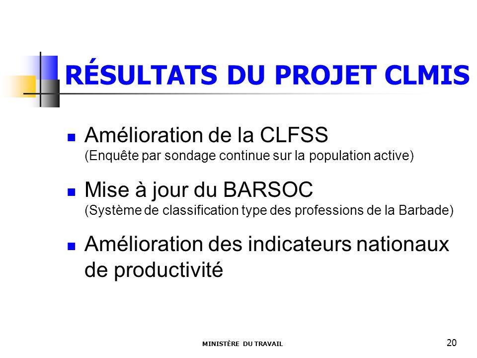 RÉSULTATS DU PROJET CLMIS Amélioration de la CLFSS (Enquête par sondage continue sur la population active) Mise à jour du BARSOC (Système de classific