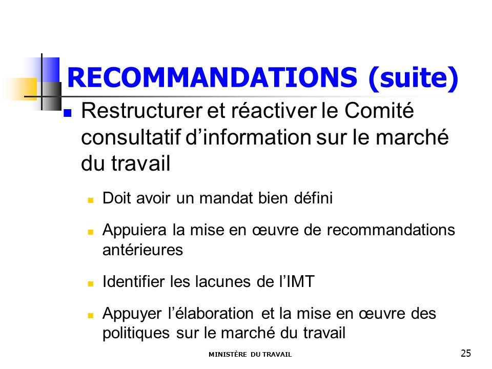 RECOMMANDATIONS (suite) Restructurer et réactiver le Comité consultatif dinformation sur le marché du travail Doit avoir un mandat bien défini Appuier