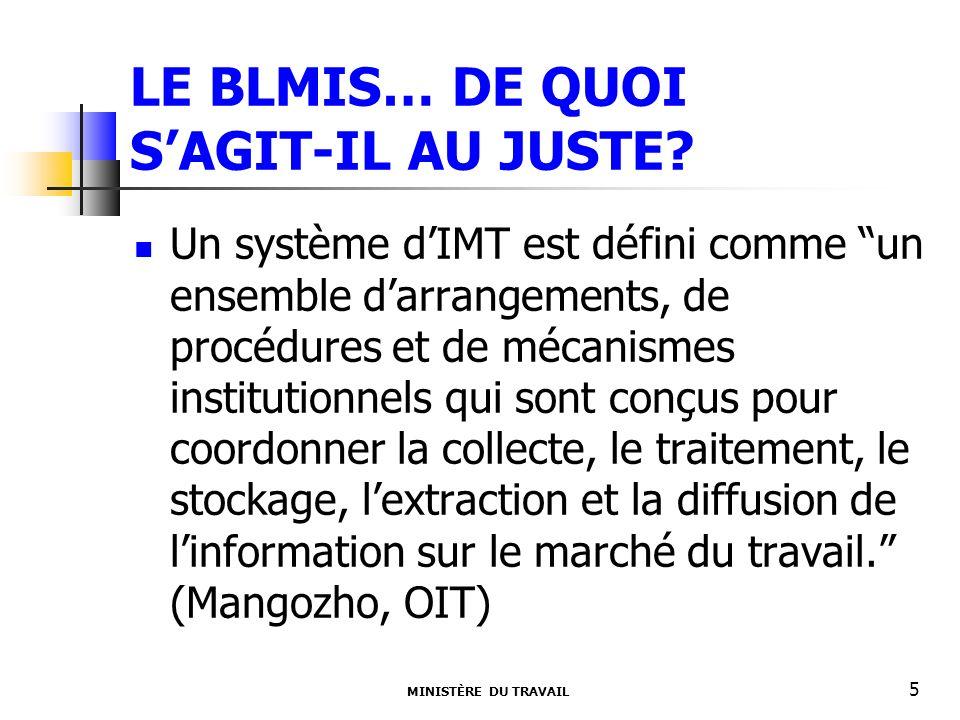 LE BLMIS… DE QUOI SAGIT-IL AU JUSTE? MINISTÈRE DU TRAVAIL 5 Un système dIMT est défini comme un ensemble darrangements, de procédures et de mécanismes