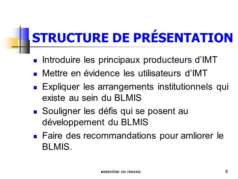 STRUCTURE DE PRÉSENTATION Introduire les principaux producteurs dIMT Mettre en évidence les utilisateurs dIMT Expliquer les arrangements institutionne
