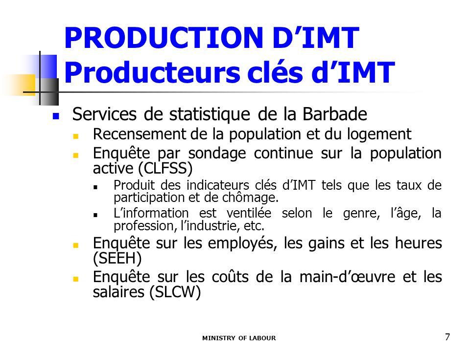 MINISTRY OF LABOUR 7 PRODUCTION DIMT Producteurs clés dIMT Services de statistique de la Barbade Recensement de la population et du logement Enquête par sondage continue sur la population active (CLFSS) Produit des indicateurs clés dIMT tels que les taux de participation et de chômage.