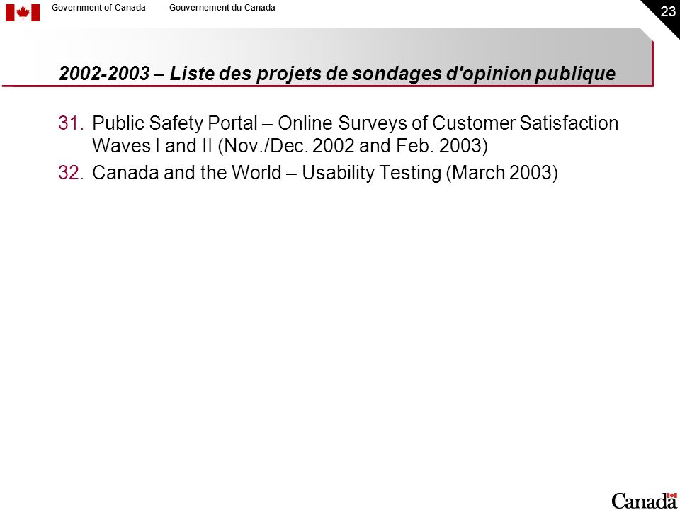 23 Government of CanadaGouvernement du Canada 2002-2003 – Liste des projets de sondages d opinion publique 31.Public Safety Portal – Online Surveys of Customer Satisfaction Waves I and II (Nov./Dec.