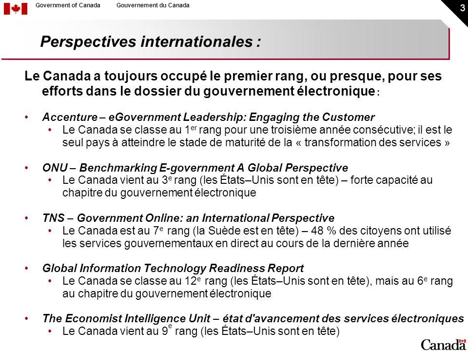 14 Government of CanadaGouvernement du Canada Faire participer les Canadiens en direct : Avantages des approches en direct Accès, intervention et rétroaction faciles et rapides Rentabilité Moins intimidant qu en personne Préoccupations à propos des approches en direct : Qu en est–il des Canadiens n ayant pas accès à la technologie – Seront–ils mis à l écart des consultations.