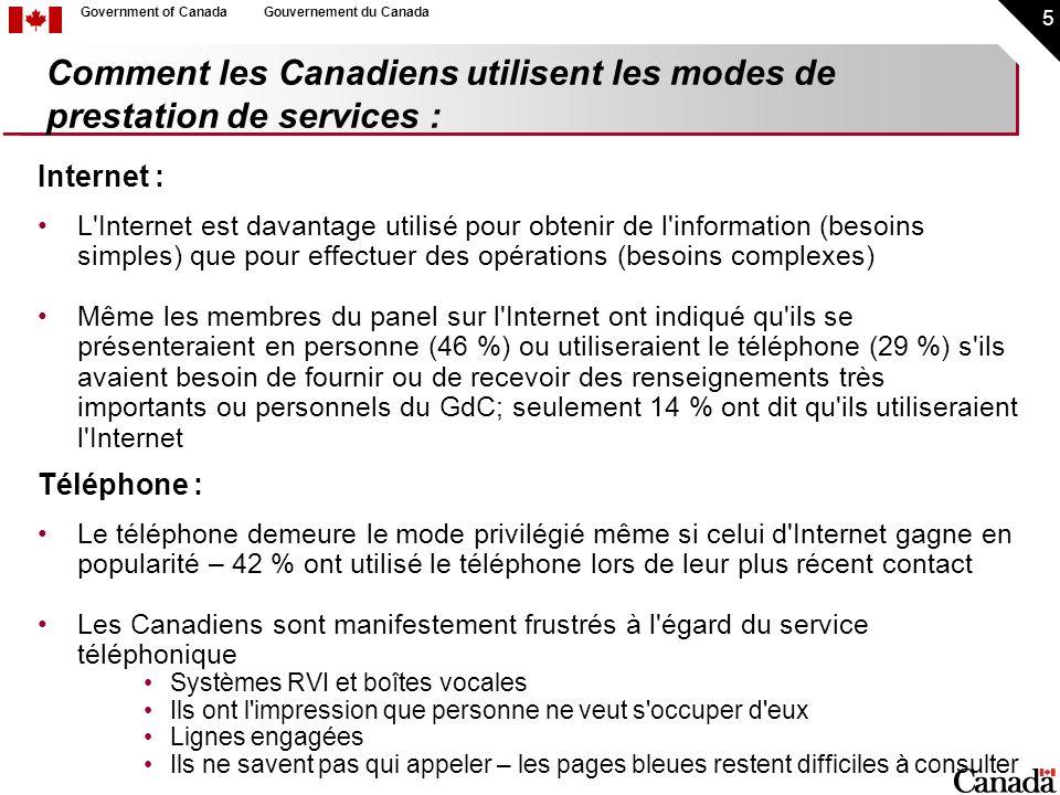 16 Government of CanadaGouvernement du Canada Les Canadiens veulent être informés : Campagnes publicitaires : 46 % des membres du panel du GeD sur l Internet se souviennent d avoir vu une publicité du site du Canada au cours des derniers mois (67 % d entre eux se rappellent qu il s agissait d une publicité télévisée) Campagne publicitaire dans les transports en commun – 18 % des usagers courants du transport en commun se souviennent d avoir vu une publicité au sujet d un site Web du GdC 7 % disent qu ils ont donné suite à cette publicité – p.