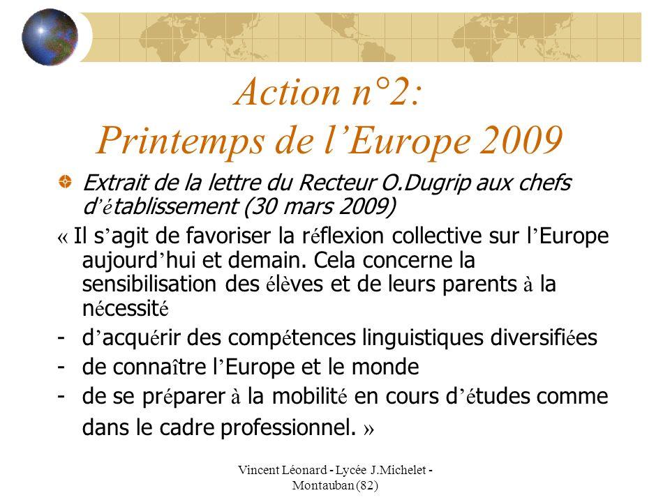Vincent Léonard - Lycée J.Michelet - Montauban (82) Action n°2: Printemps de lEurope 2009 Extrait de la lettre du Recteur O.Dugrip aux chefs d é tabli