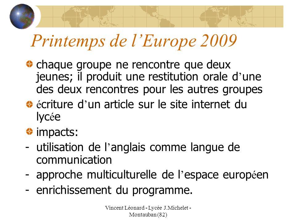 Vincent Léonard - Lycée J.Michelet - Montauban (82) Printemps de lEurope 2009 chaque groupe ne rencontre que deux jeunes; il produit une restitution o