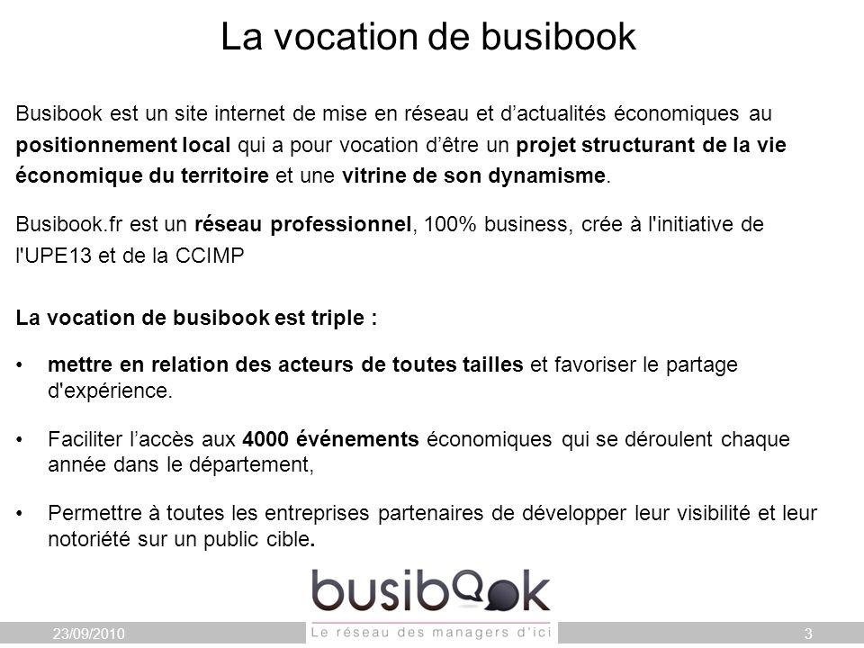 La vocation de busibook Busibook est un site internet de mise en réseau et dactualités économiques au positionnement local qui a pour vocation dêtre un projet structurant de la vie économique du territoire et une vitrine de son dynamisme.