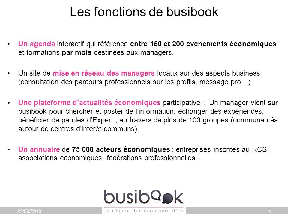 Les fonctions de busibook Un agenda interactif qui référence entre 150 et 200 évènements économiques et formations par mois destinées aux managers.