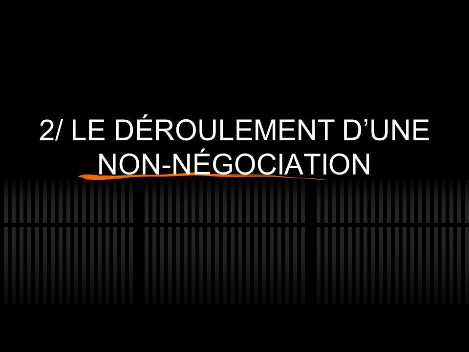 2/ LE DÉROULEMENT DUNE NON-NÉGOCIATION