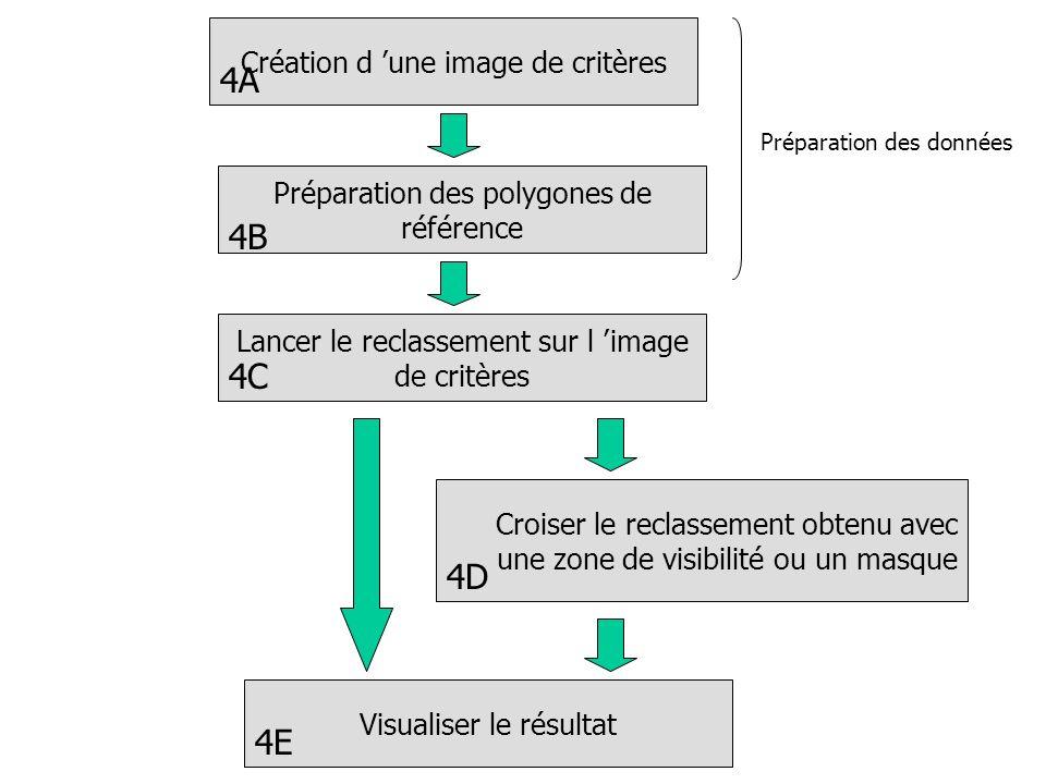 Création d une image de critères Lancer le reclassement sur l image de critères Croiser le reclassement obtenu avec une zone de visibilité ou un masque Visualiser le résultat 4A 4C 4D 4E Préparation des polygones de référence 4B Préparation des données