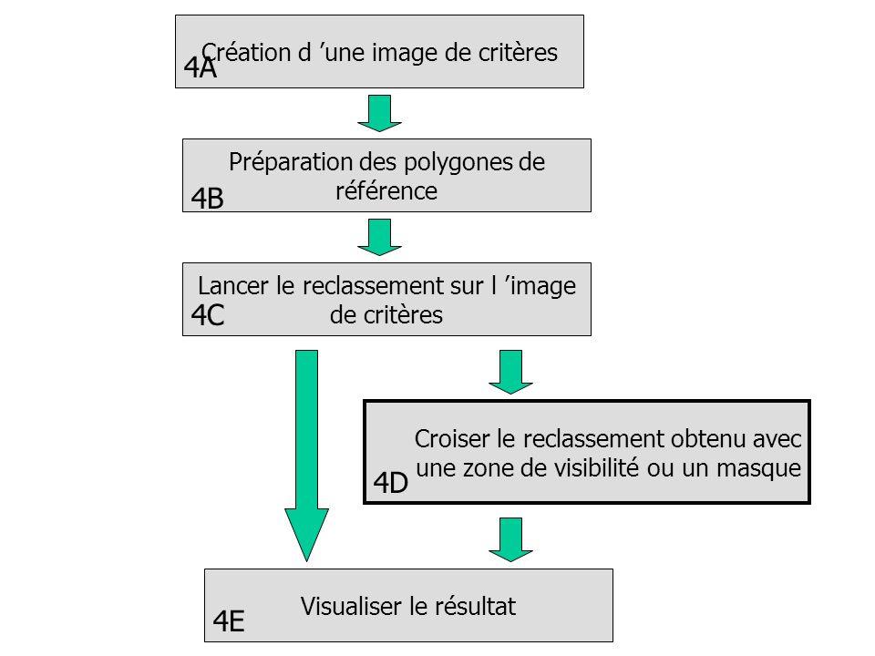 Création d une image de critères Lancer le reclassement sur l image de critères Croiser le reclassement obtenu avec une zone de visibilité ou un masqu