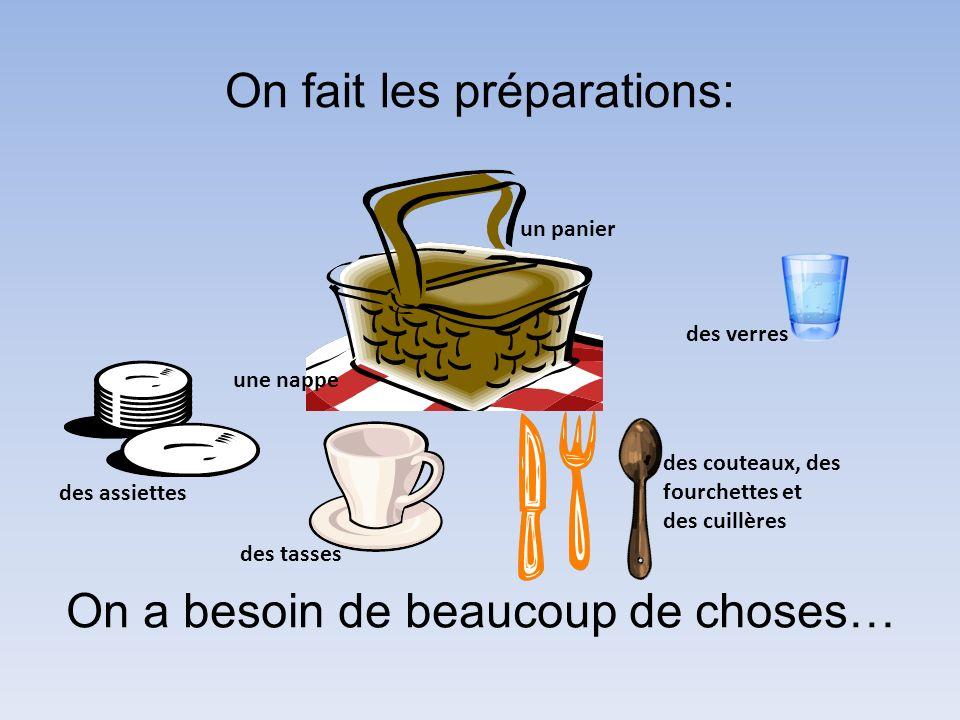On fait les préparations: On a besoin de beaucoup de choses… des assiettes des tasses des verres un panier une nappe des couteaux, des fourchettes et