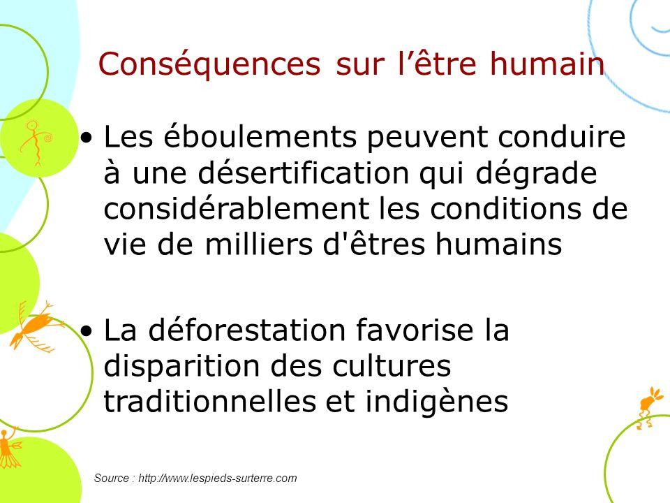 Conséquences sur lêtre humain Source : http://www.lespieds-surterre.com Les éboulements peuvent conduire à une désertification qui dégrade considérabl