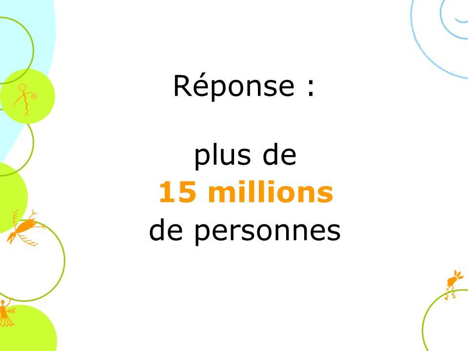 Réponse : plus de 15 millions de personnes (Source : lesprit des lois, tdc, 1996)