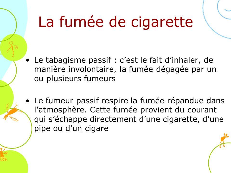 Le tabagisme passif : cest le fait dinhaler, de manière involontaire, la fumée dégagée par un ou plusieurs fumeurs Le fumeur passif respire la fumée r