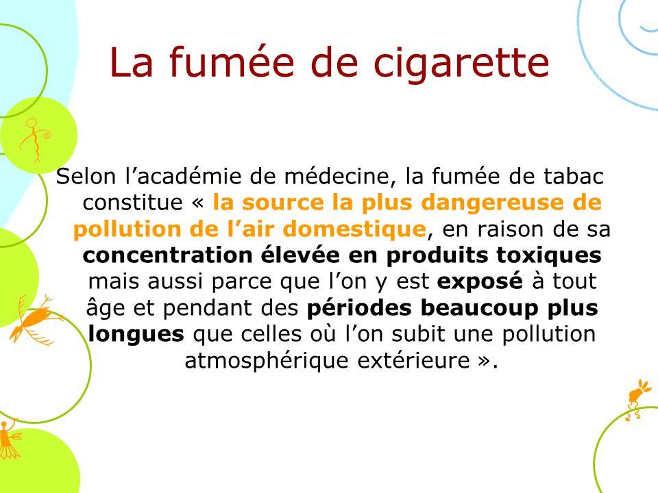 La fumée de cigarette Selon lacadémie de médecine, la fumée de tabac constitue « la source la plus dangereuse de pollution de lair domestique, en rais