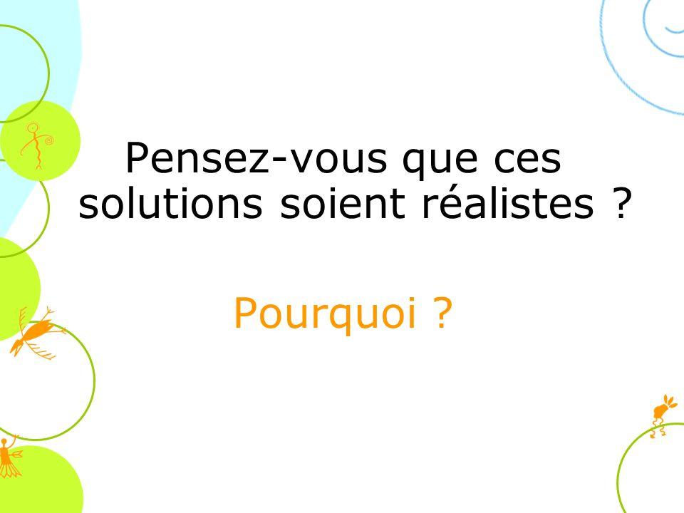 Pensez-vous que ces solutions soient réalistes ? Pourquoi ?