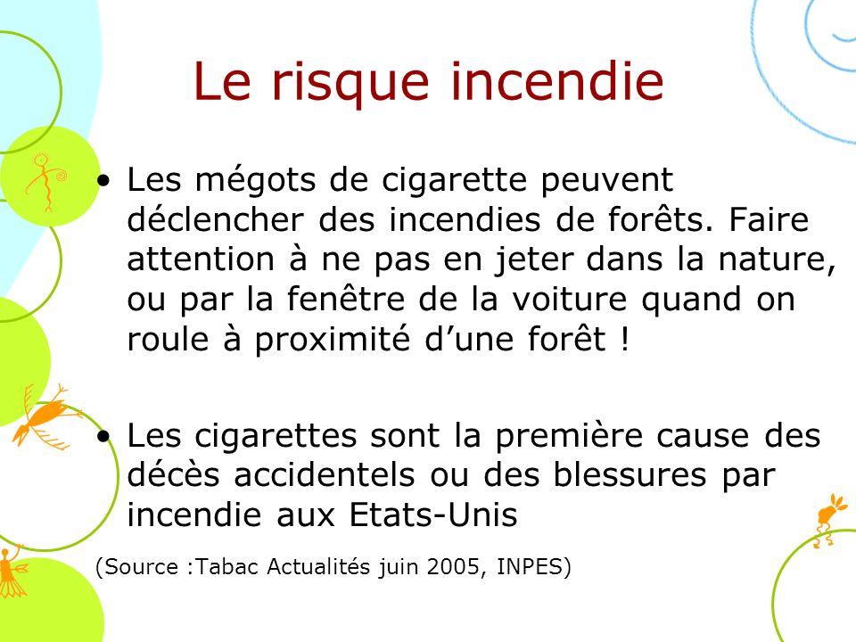 Le risque incendie Les mégots de cigarette peuvent déclencher des incendies de forêts. Faire attention à ne pas en jeter dans la nature, ou par la fen