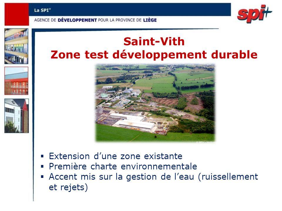 Saint-Vith Zone test développement durable Extension dune zone existante Première charte environnementale Accent mis sur la gestion de leau (ruissellement et rejets)